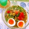 夏野菜のおかわかめ出汁びたし素麺