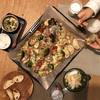ぎゅうぎゅう焼き、バゲット、ごはん、新玉ねぎ、かぼちゃスープ(ひっくり返した)