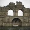 干ばつによりダムから姿を現した教会の廃墟