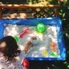 秋冬のお庭遊びの準備★庭に砂場を作りました!