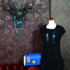 イタリアンブルー本革ネックレス&イタリア製バック