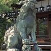 杭全神社(くまたじんじゃ)の狛犬さんの足が、ひもで縛られているその訳は?