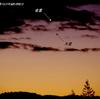 雲の隙間に 金星と木星の接近 2017.11.13