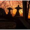 新潟の夕焼けの眺め―村上市 石動神社