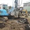 地盤改良工事は泥まみれ、セメントまみれ