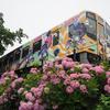 音街ウナTalkEx3周年記念ヘッドマークを付けた音街ウナ・ラッピング列車「うなぴっぴごー!」を撮影してきた