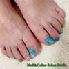 風水ラッキーカラーでアレンジ♡グリーン&ブルーのマーブルネイル☆フットジェル