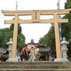 地震で被災した出水神社の鳥居1基再建