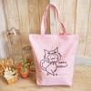 猫トートバッグA4帆布 ピンク 春夏 レッスンバッグ