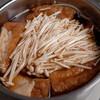 夕食:厚揚げとエノキをうどん出汁をつかってなんちゃって「煮物」に