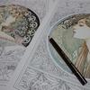 2】透明水彩+油性色鉛筆でミュシャ『月桂樹』のページ・ミュシャぬりえファンタジーより