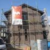 岡山市北区西崎の家 外壁タイル張り作業