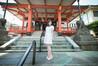 夏の終わりの神楽坂、善國寺と清楚な水色ワンピース
