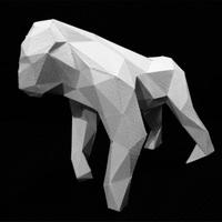 Update ゴリラのローポリゴン風ペーパークラフト(無料型紙)low-poly Gorilla paper craft template