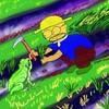 カエルと一緒に草刈りをする