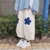 韓国ファッション フラワーパッチ ワイドパンツ 9分丈 ガウチョパンツ ハイウエスト