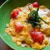 本日の朝食は豚肉と塩トマトの卵とじ丼♪<おうちごはん>