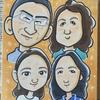 新築祝いに家族4人の似顔絵(手描き、色紙サイズ)