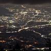 甘利山から望む甲府盆地の眺望と夜景