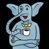 コーヒーを飲む象 のイラスト