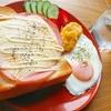ブラックペッパーをきかせたハムチーズマヨトースト【朝食ワンプレート】