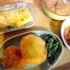 唐揚げピーナッツ、鮪、玉子焼き、餅チーズコロッケ