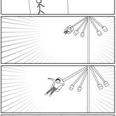 四コマ漫画「遠心力を利用したクレヨン」