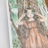 エポルの森の少女「葉っぱのサングラス」は水彩絵の具と色鉛筆で