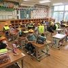風水害避難訓練(引き渡し訓練)①教室で準備