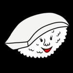 かわいいイカのお寿司 のイラスト
