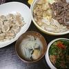 鶏焼き肉、ツナピー、味噌汁