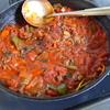 幸運な病のレシピ( 1272 )朝:ミートソース(セロリ、ニンニク、新玉ねぎ=夜ラザニア)、塩サバ、ニラスープ