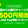 LINE Payに初めての銀行チャージ1,000円以上で500円もらえる!