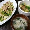 回鍋肉風、スープ、ブロッコリー炒め