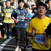 先頭通過から18分後くらいまで:2km過ぎ@おかやまマラソン2016(13日)