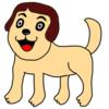 人の顔したかわいい犬 の無料イラスト