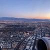 ユナイテッド航空 早朝一便5:50 UA324 ラスベガス-ロサンゼルス 、綺麗な朝焼け ターミナル間通路利用で乗継