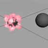 Maya nParticle  emit from objectで、emit元のオブジェクトを別のオブジェクトに切り替えたい