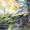 水彩+パステル「苔むした秋の森」