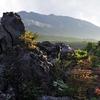 浅間の麓 鬼押出し園の奇岩と夕日のコラボ