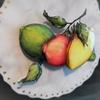 ◆◆◆大理石のようなマーブル模様に。額入れせずにプラーク(飾り板)に乗せるレモン◆◆◆