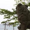 能登町羽根の八幡神社の狛犬と海を眺める