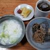鯖の煮つけと白菜の雑炊と焙じ茶