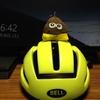 このヘルメットかぶってチャリコで図書館にいきました。