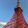 5月25日(金)hatenaより夕方の東京タワーと月。