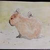 水彩画35枚目「カピバラの上で世間話をするシマエナガ」