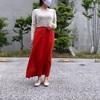 【GUの1290円ボトム】赤いリネンのスカートで元気になれるスタイリング