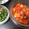 トマトポン酢漬け、ツナピーマン、味噌汁