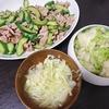 豚こまきゅうり炒め、白菜漬け、味噌汁