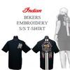 インディアンモトサイクル=刺繍Tシャツ=バイカー&ネイティブデザイン